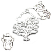 Amoracast Exclusive Sterling Silver Wise Oak Tree Pendant Sampler Set - Kingfisher and Owl