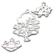 Amoracast Exclusive Sterling Silver Wise Oak Tree Pendant Sampler Set - Raccoon and Hedgehog