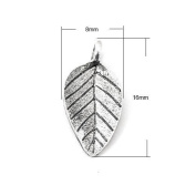 Pack of 30 x Antique Silver Tibetan 16mm Charms (LEAF) - (HA08560) - Charming Beads