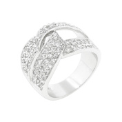 J Goodin Rhodium Plated Cubic Zirconia Knot Ring Size 10
