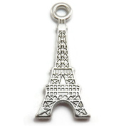 10 Eiffel Tower Charms silver tone