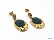 New 9ct Gold / 9k Gold Real ABALONE Oval Diamond Cut Pattern Drop Earrings (GD252) GOLD EARRING / Gold Jewellry