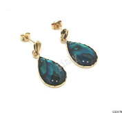 New 9CT Gold / 9k Gold Genuine ABALONE Teardrop Drop Earrings (GD178) GOLD EARRING / Gold Jewellry