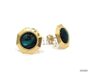 New 9CT Gold Genuine ABALONE Octagonal Earrings (GS1603) GOLD EARRING, Boxed Package (MADE IN UK