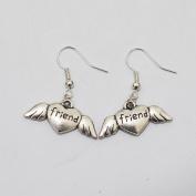 Charm Friend Heart Wings Earrings Girl Symbol Earrings Jewellery Best Gift for Woman Everyday Gift