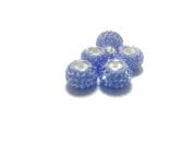 Sea Blue-5pcs.925 Sterling Silver. Crystal Pave Bead Charm Fits Pandora Charm Bracelets