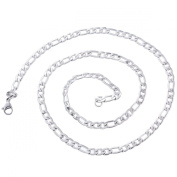 Stainless Steel Silver Tone Popcorn Chain Necklace 51.5cm Long