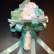 [MY FAIRY LADY]. Designer's Bling Crystal Rhinestone Bridal Wedding Bouquet - White, Green and Turquoise Satin Flowers, Comes with Flower Brooches and Pearls