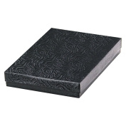 25 Black Swirl Cotton Charm Jewellery Box Gift Display Case 14cm x 9.8cm x 2.5cm