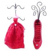 [Vanessa] Jewellery Display Holder Stand Combo Red