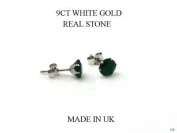 New 9ct White Gold Green Agate 6 MM. Stud Earrings (GW128) WHITE GOLD STUD EARRING / White Gold Stud Jewellry