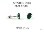 New 9ct White Gold Green Agate OVAL STUD Earrings (GW138) WHITE GOLD STUD EARRING / White Gold Stud Jewellry