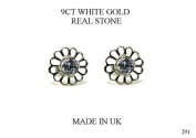 NEW PREMIUM 9CT WHITE GOLD DAISY LILAC CUBIC ZIRCONIA EARRINGS (GW291) WHITE GOLD STUD EARRING / White Gold Stud Jewellry