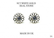 NEW PREMIUM 9CT WHITE GOLD DAISY LILAC CUBIC ZIRCONIA EARRINGS (GW291) WHITE GOLD STUD EARRING / White Gold Stud Jewellry