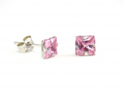 NEW 9ct White Gold SQUARE PINK CUBIC ZIRCONIA 4 mm. Stud Earrings (GW146) WHITE GOLD STUD EARRING / White Gold Stud Jewellry