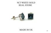New Premium 9ct White Gold Blue Topaz Square Stud Earring (GW322) WHITE GOLD EARRING / White Gold Jewellry
