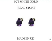 New 9ct White Gold Amethyst TEARDROP Stud Earrings (GW374) WHITE GOLD EARRING / White Gold Jewellry