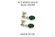 New 9ct White Gold Green Agate OVAL DROP Earrings (GW257) WHITE GOLD EARRING / White Gold Jewellry