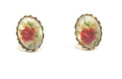 New 9CT Gold MOTHER of PEARL Oval Stud Earrings (GS323) GOLD EARRING / Gold Jewellry