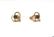 New 9CT Gold Open Heart & GARNET Stud Earrings (GS502) GOLD EARRING / Gold Jewellry