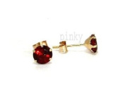 New 9ct Gold Genuine Garnet 5mm Round Stud Earrings (GS885) GOLD EARRING / Gold Jewellry