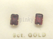 New 9ct Gold Genuine Garnet Emerald Cut Stud Earrings BNIB (GS1169) GOLD EARRING / Gold Jewellry