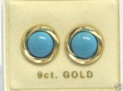 New 9CT Gold Round Turquoise Stud Earrings (GD686) GOLD EARRING / Gold Jewellry