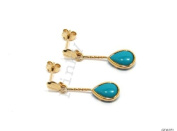 New 9CT Gold TURQUOISE Teardrop Drop Earrings (GD1021) GOLD EARRING / Gold Jewellry