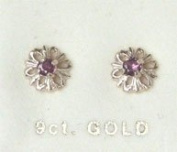 New 9ct Gold Ruby Flower Shape Stud Earrings BNIB (GD1047) GOLD EARRING / Gold Jewellry