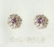 New 9ct Gold Ruby Flower Shape Stud Earrings BNIB (GD1047) GOLD EARRING / Gold Jewellry