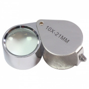 HTS 202A0 10x 21mm Stainless Steel Jeweller's Doublet Loupe