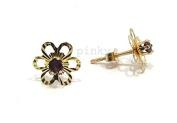 New 9ct Gold Amethyst Flower Shape Diamond Cut Stud Earrings (GS894) GOLD EARRING / Gold Jewellry