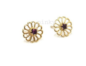 New 9Ct Gold Amethyst Daisy Stud Earrings (GS1280) GOLD EARRING / Gold Jewellry