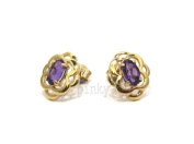 New 9ct GOLD AMETHYST CELTIC WEAVE STUD EARRING (GS1469) GOLD EARRING / Gold Jewellry