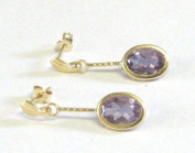 New 9Ct Gold / 9k Gold Genuine Amethyst Dangle Earrings (GD839) GOLD EARRING / Gold Jewellry