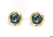 New 9Ct Gold ABALONE Swirl Edge Stud Earrings (GS688) GOLD EARRING, Boxed Package