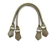 46cm byhands 100% Genuine Leather Embossed Bronze Style Ring Purse Handles