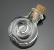 5pcs Round Shaped Clear Mini Glass Necklace Bottle Vial with Cork Stopper and Eyehook
