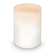 Relaxdays Flameless Led Candle Column Shaped With Real Wax Coating 7.5 X 10 Cm Ivory