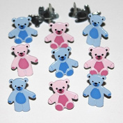 Eyelet Outlet Shape Brads 12/Pkg-Bear Pink & Blue