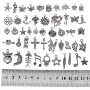 RUBYCA 200Pcs Wholesale Bulk Lots Tibetan Silver Colour Mix Pendants Charms Bracelet Jewellery Mix2