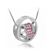 DDU(TM) 1Pc Pink- Unique Love Heart Ring Shape Crystal Rhinestone Pendant Neck Chain Necklace Valentine's Day Gift