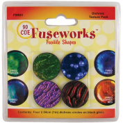Fuseworks Dichroic Texture Fusible Glass Shapes, 2.5cm Round Discs, Assorted Colours, 4-Pack