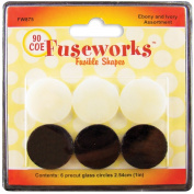 Fuseworks Ebony and Ivory Fusible Glass Shapes 2.5cm Round Discs, Black/White, 6-Pack