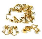 24 Gold Plated Clip on Earring Findings Standard Ball with Easy Open Loop for Easy Converting From Standard Ear Wires 12 Pair