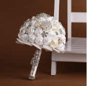 High Quality Romantic Diamond Rose Artificial White Wedding Bouquet of Flowers, Western Style Wedding Bride Holding Flowers