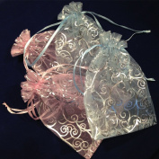 50 Organza Gift Bags Sheer Organza Pouches with Print