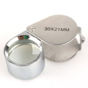 Luckystone® Silver 30x 21mm Jewellers Eye Loupe Magnifier Magnifying Glass Powerful Doublet, Chrome Plated, Round Body Jewellery Loupe