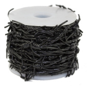 Leather Cord Barbed Wire, 10 Metre Spool, Black