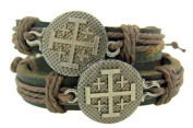 Set of 2 Jerusalem Crusaders Cross Medal 20cm Adjustable Leather Bracelet